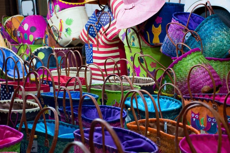 Zamyka W górę Barwionych Bawełnianych toreb fotografia stock