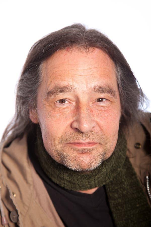 Zamyka w górę Długie Włosy Uśmiechniętego Dorosłego mężczyzna zdjęcia royalty free