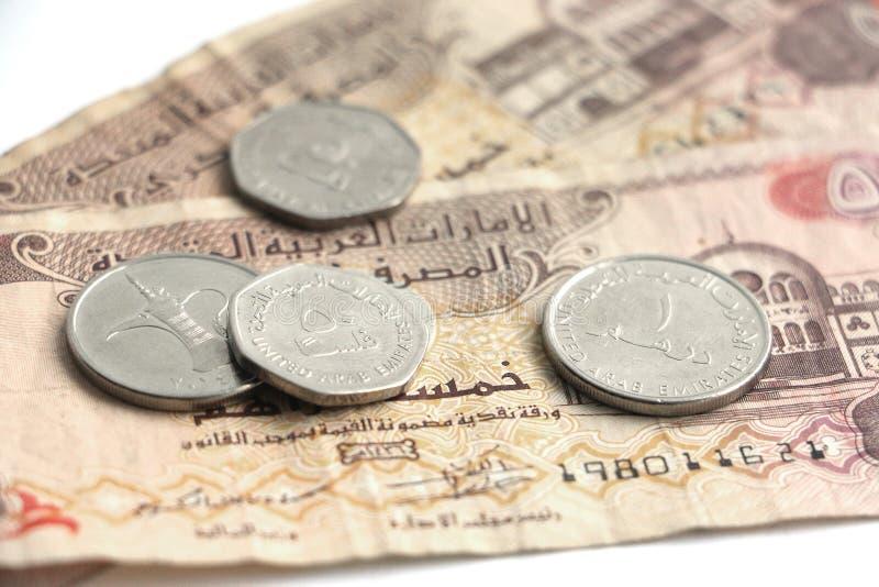 Zamyka w górę Dirham pieniądze od Zjednoczone Emiraty Arabskie fotografia stock