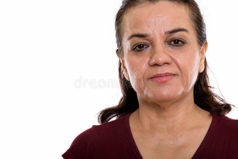 Zamyka w górę dojrzałej Perskiej kobiety twarzy fotografia stock