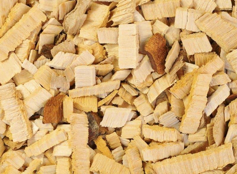 Zamyka w górę drewnianych układów scalonych drzewo dla dymić lub przetwarza Tekstura dla tła fotografia stock
