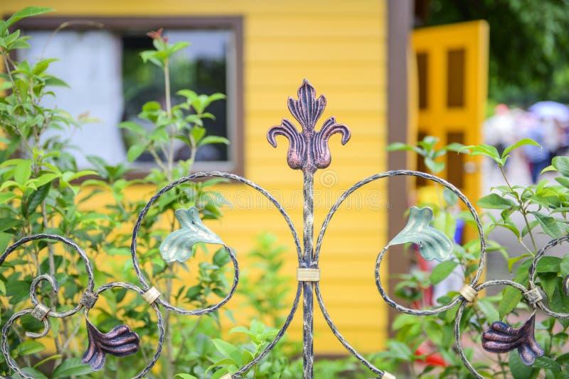 Zamyka w górę elementu żelaza ogrodzenie, zdjęcia royalty free