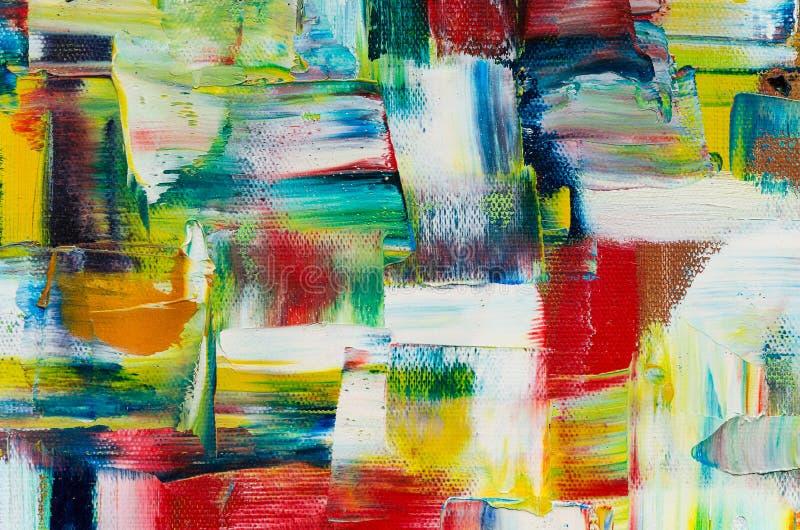 Zamyka w górę fotografii obraz olejny na kanwie Kolorowa tekstura mieszał nafciane farby w różnych kolorach Jaskrawy wielki wolum royalty ilustracja