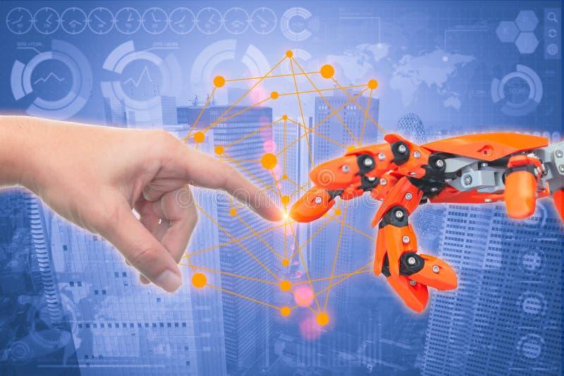 Zamyka w górę istota ludzka palca dotyka robota palca jak tworzenie Adam royalty ilustracja