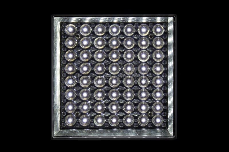 Zamyka w górę lampowego emituje dioda kształta kwadrata odizolowywa na czarnym tle obraz royalty free