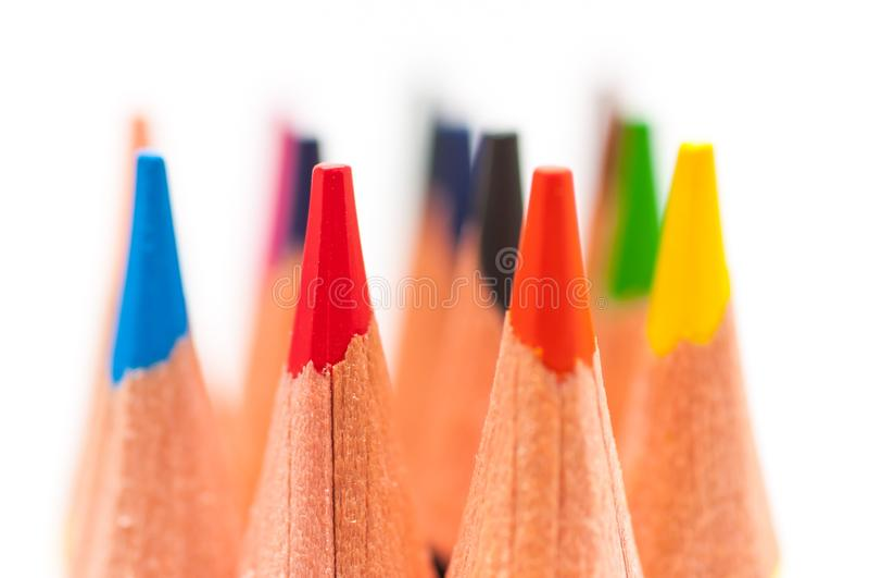 Zamyka w górę makro- strzału kolorów ołówki obraz royalty free