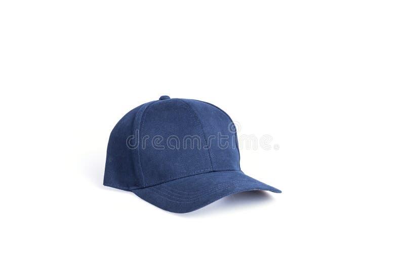 Zamyka w górę nowego błękitnego baseballa kapeluszu odizolowywającego na bielu zdjęcie stock