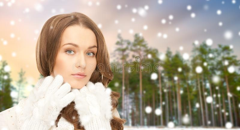 Zamyka w górę pięknej kobiety nad zima lasem zdjęcia royalty free