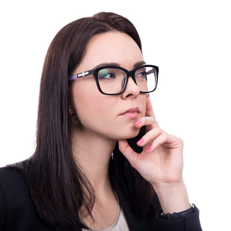 Zamyka w górę portreta biznesowa kobieta marzy wokoło w eyeglasses fotografia royalty free