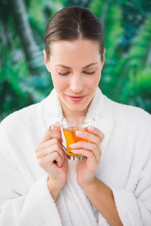 Zamyka w górę portreta piękna młoda kobieta pije herbaty obrazy stock