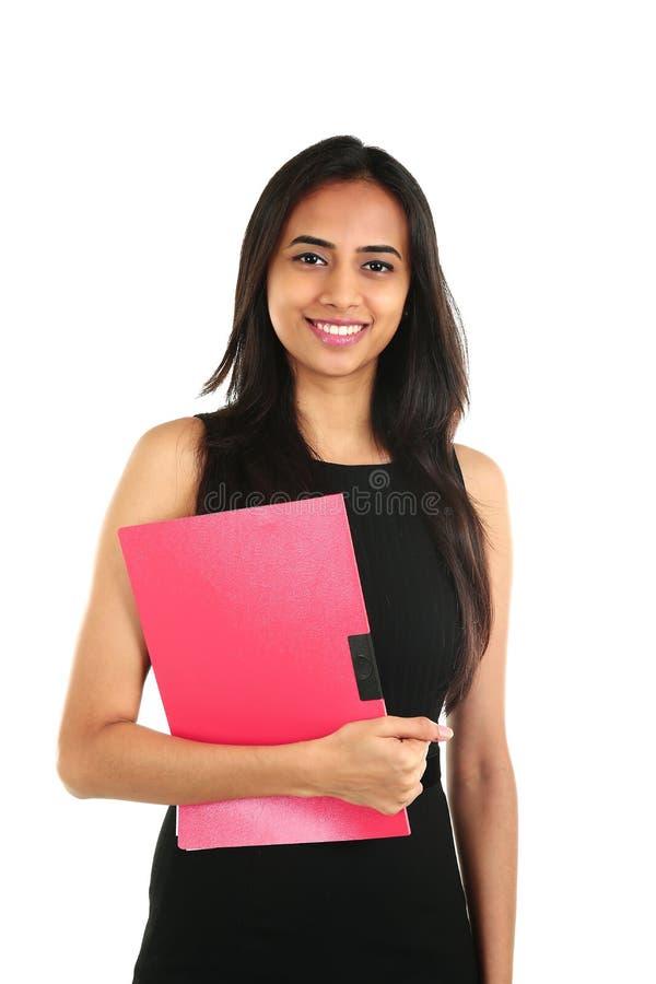 Zamyka w górę portreta uśmiechnięta Indiańska biznesowa kobieta fotografia stock