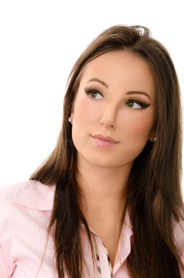 Zamyka w górę portreta zadumana biznesowa kobieta zdjęcie stock