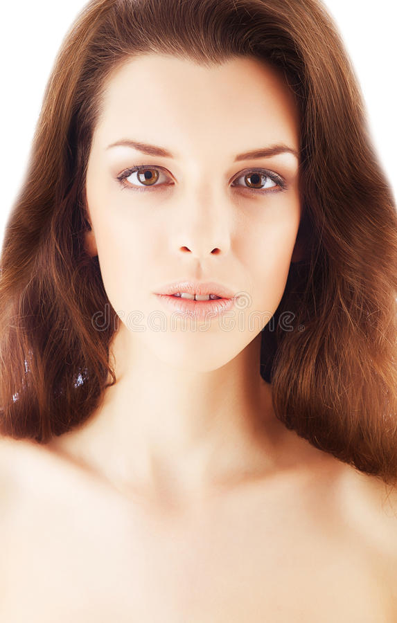 Zamyka w górę portreta zdrowa atrakcyjna kobieta fotografia stock