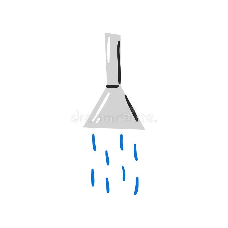 Zamyka w górę prysznic z wodny nadchodzącym out ilustracja wektor