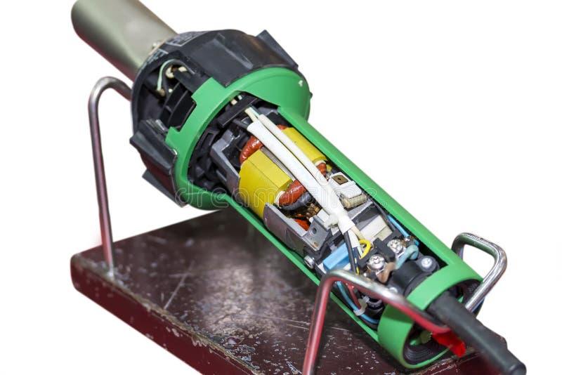 Zamyka w górę przekroju poprzecznego extruder plastikowa spawalnicza maszyna dla przemysłowej naprawy i utrzymania odizolowywając zdjęcia royalty free