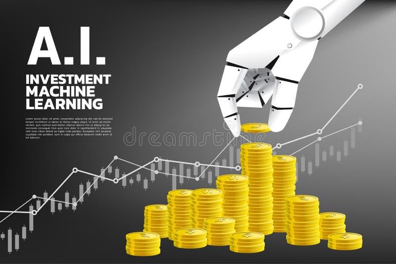 Zamyka w górę ręki robot z monetą i sterty złota moneta ilustracja wektor