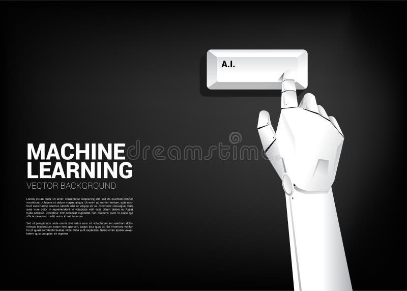 Zamyka w górę robot ręki dotyka a Ja kluczowy deskowy komputer ilustracji