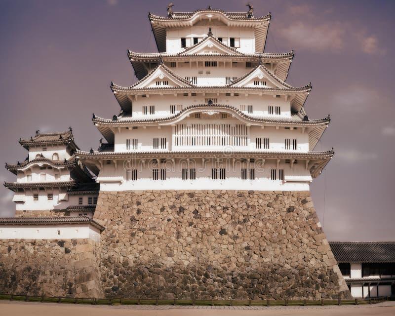 Zamyka w górę rocznika spojrzenia Himeji kasztelu utrzymanie obrazy royalty free