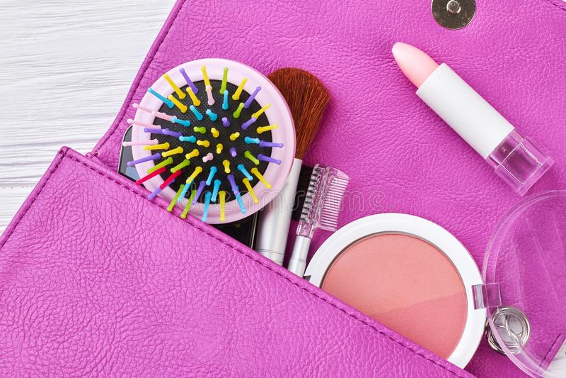 Zamyka w górę rzemiennej torby z kosmetykami zdjęcia royalty free