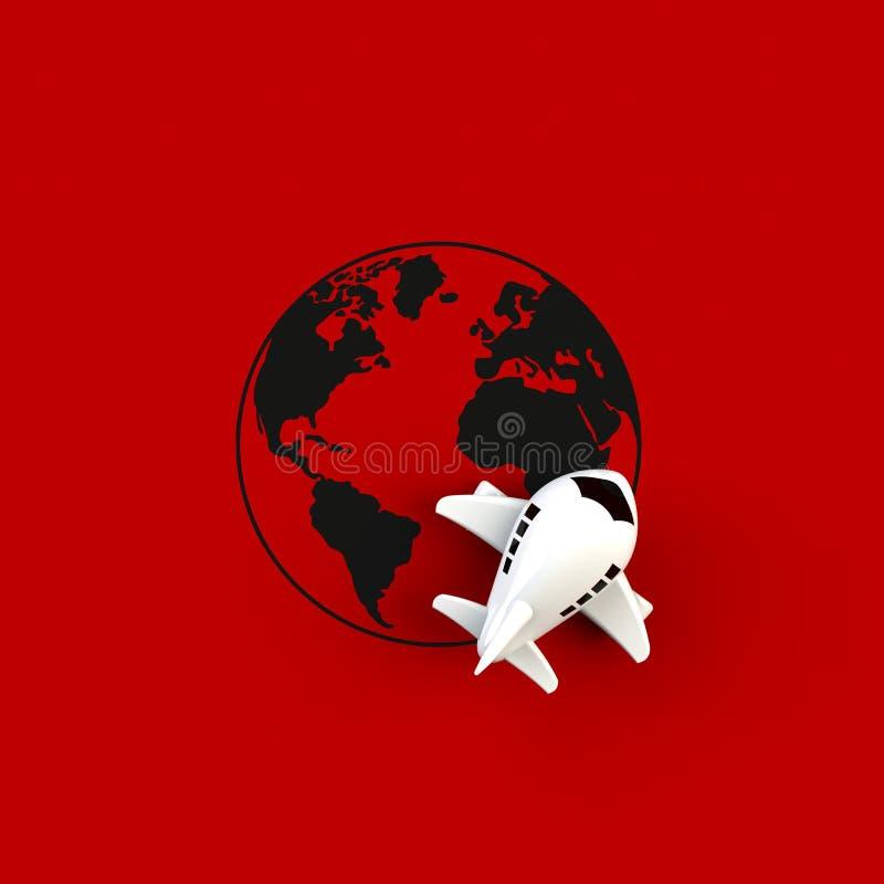 Zamyka w górę samolotu na kuli ziemskiej pojęcia ilustracji na czerwonym tle, Odgórny widok z kopii przestrzenią royalty ilustracja