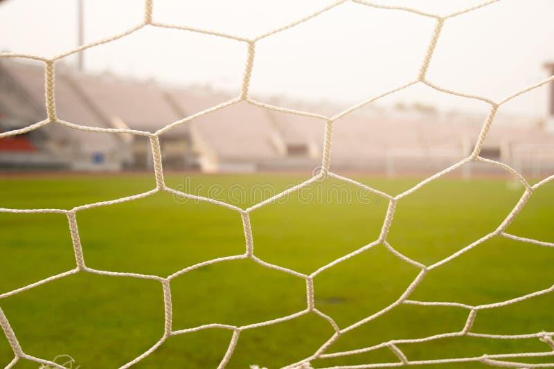 Zamyka w górę siatka futbolowego celu światła i zdjęcie stock
