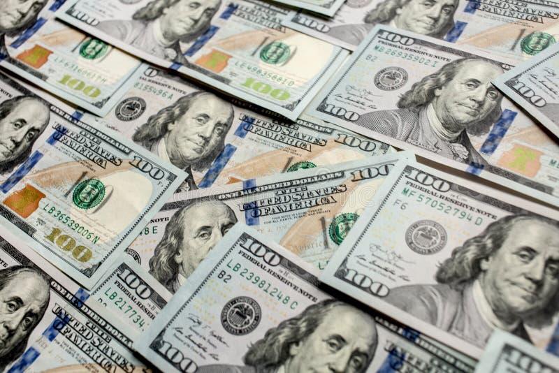 Zamyka w górę sto dolarów banknotu tła nowego 2013 wydania fotografia royalty free