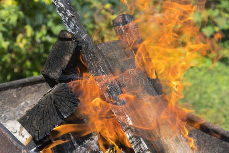 Zamyka w górę strzału palenie zamazuj?cy t?o Gotować węgle dla kulinarnego grilla na grillu Piękny ognisko płonący dąb obraz stock