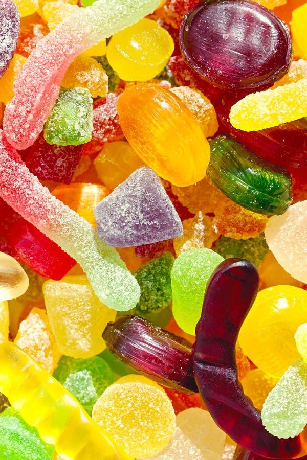 Zamyka w górę tła od kolorowych cukierków cukrowi cukierki obraz stock
