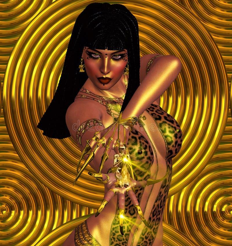 Zamyka W górę twarzy, Egipska kobieta Tajemnicza kobieta Czaruje magię w lamparta druku stroju royalty ilustracja