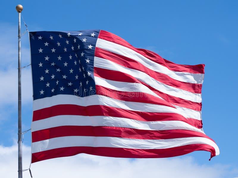 Zamyka W g?r? Unfurled flagi ameryka?skiej obrazy stock