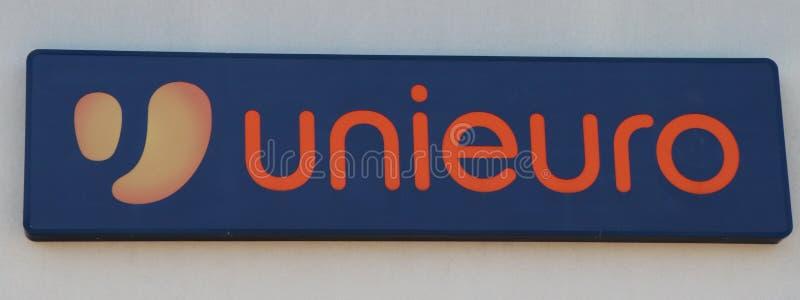 Zamyka w górę Unieuro sklepu zdjęcie royalty free