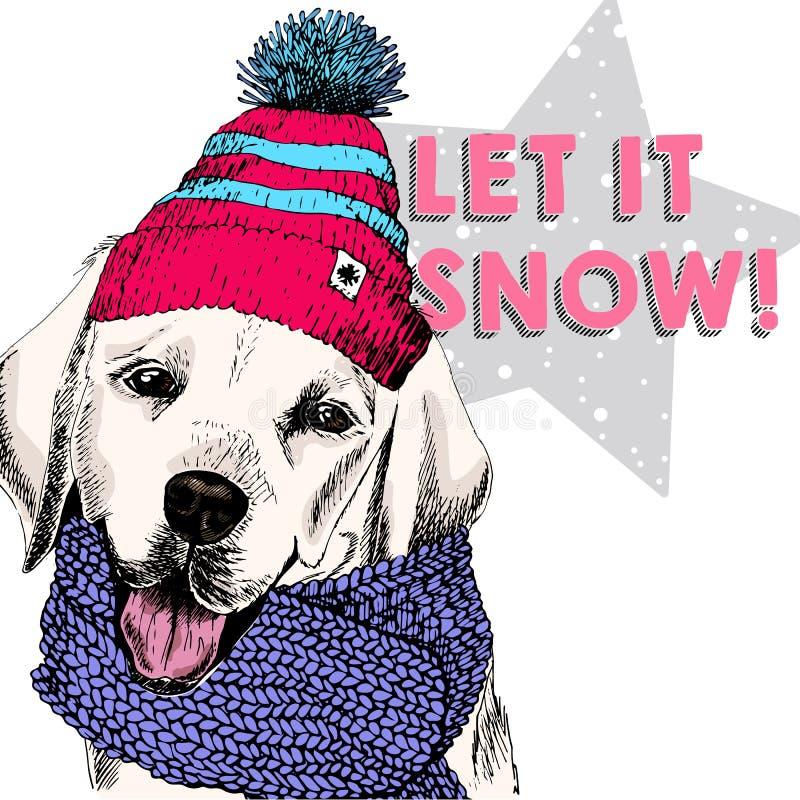 Zamyka w górę wektorowego portreta Labrador retriever psi jest ubranym beanie szalik i Narciarski trybu nastrój Skecthed barwił i ilustracja wektor