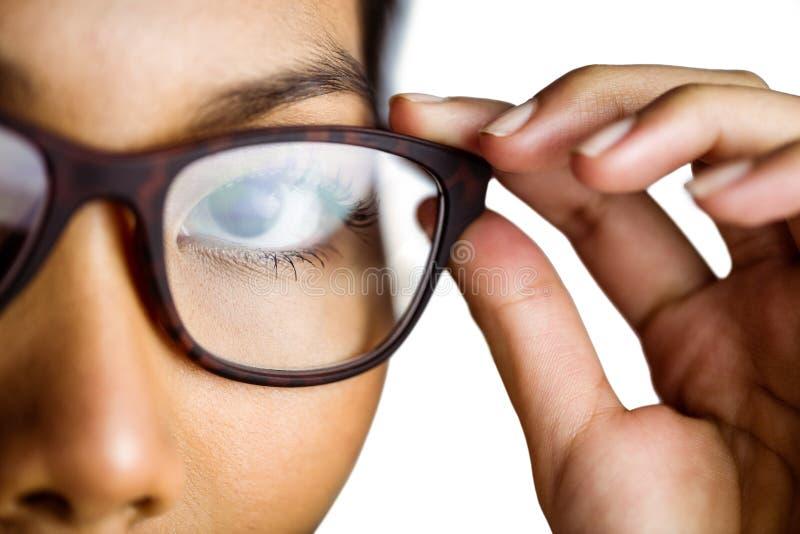 Zamyka w górę widoku bizneswoman trzyma jej eyeglasses obraz royalty free