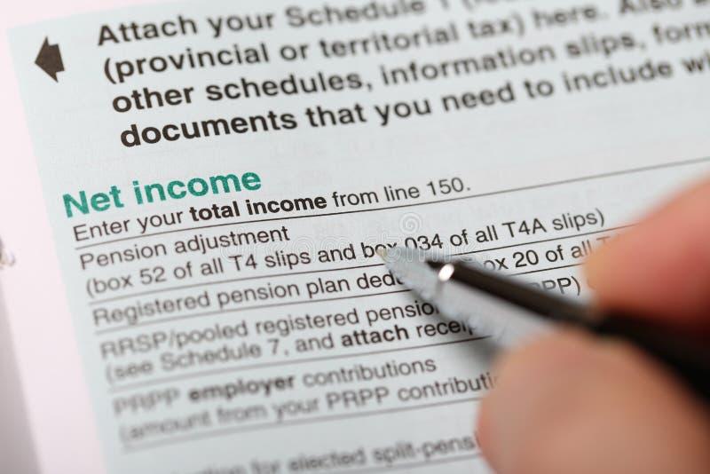 Zamyka w górę widoku dochody netto forma obrazy royalty free