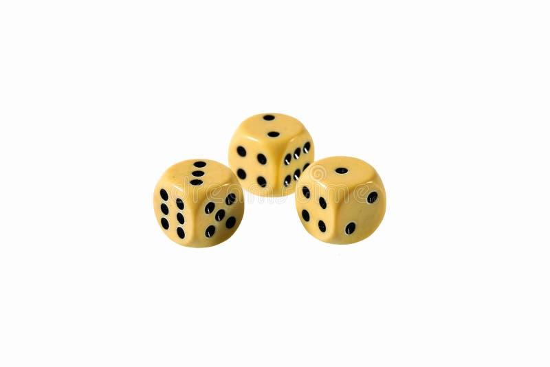 Zamyka w górę widoku kostki do gry odizolowywać Stołowe gry cofee target2025_0_ target2024_0_ Grupowe gry fotografia stock