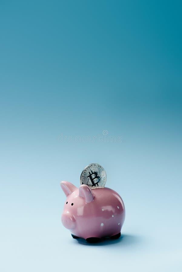 Zamyka w górę widoku różowy prosiątko bank i złota kawałek moneta zdjęcia royalty free