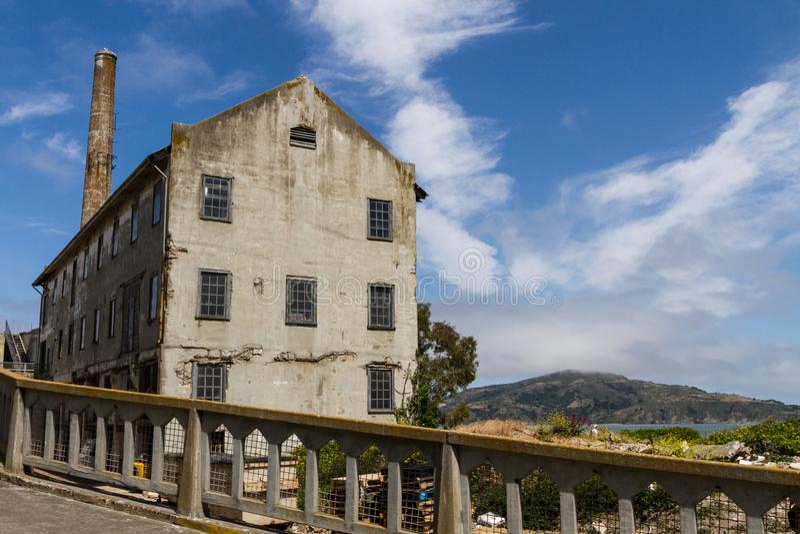 Zamyka W górę widoku władza dom na Alcatraz wyspie obraz royalty free
