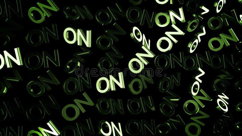 Zamyka w górę wiele słów DALEJ w zielonym kolorze i strumieniu światło na czarnym tle dla animacja Kapitałowi anglików listy ilustracji