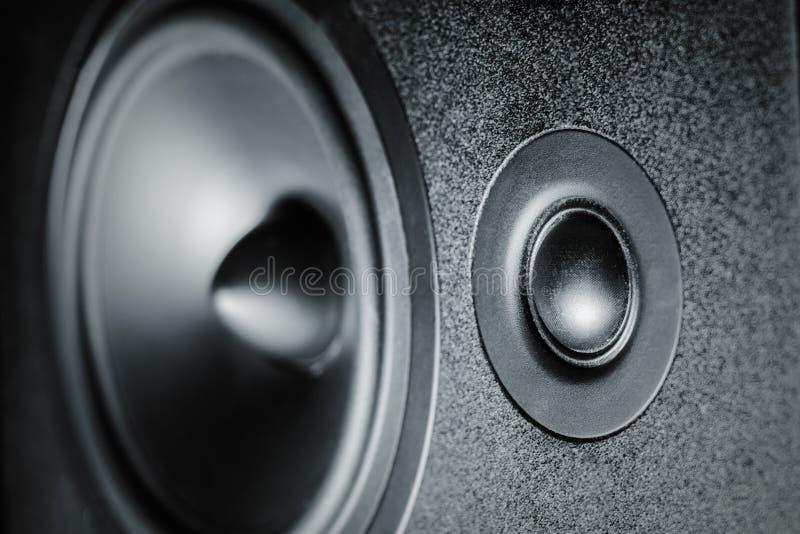 Zamyka w górę wysokie i niskie - częstotliwość mówcy, błona audia mówca fotografia stock