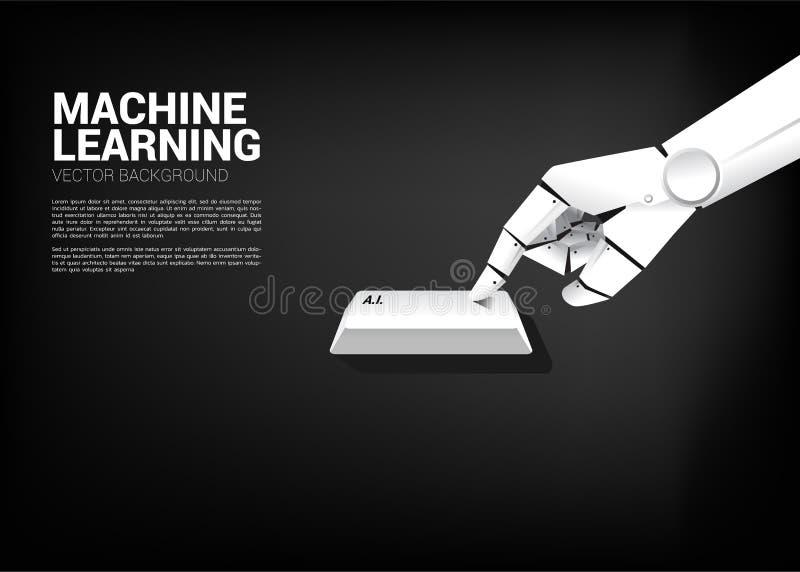 Zamyka w g?r? robot r?ki dotyka a Ja kluczowy deskowy komputer ilustracja wektor