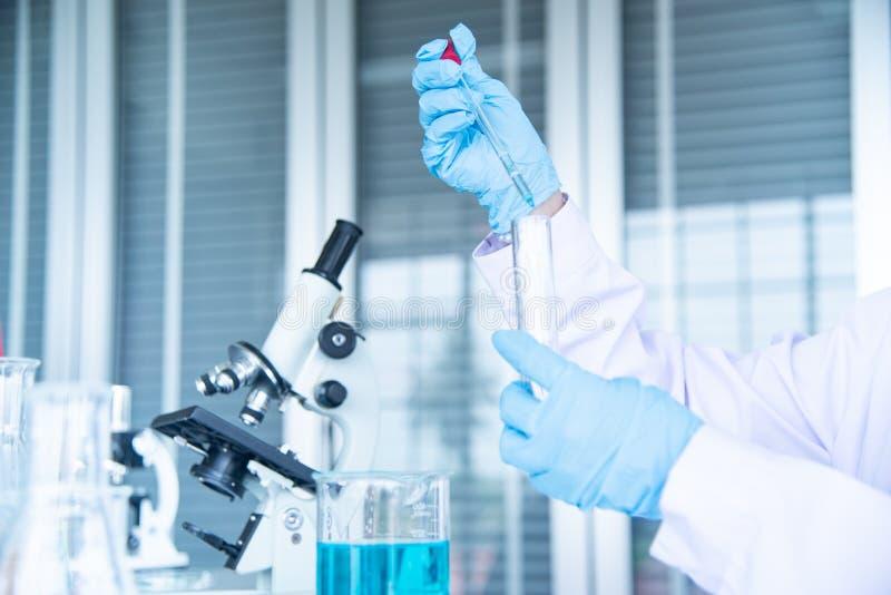 Zamykający w górę Azjatyckiego kobieta naukowa, badacza, technika lub uczeń ręki dyrygentury badania w laboratorium, zdjęcia stock