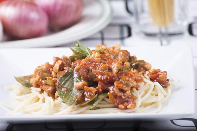 Zamykający w górę spaghetti kurczaka kumberlandu zdjęcia royalty free