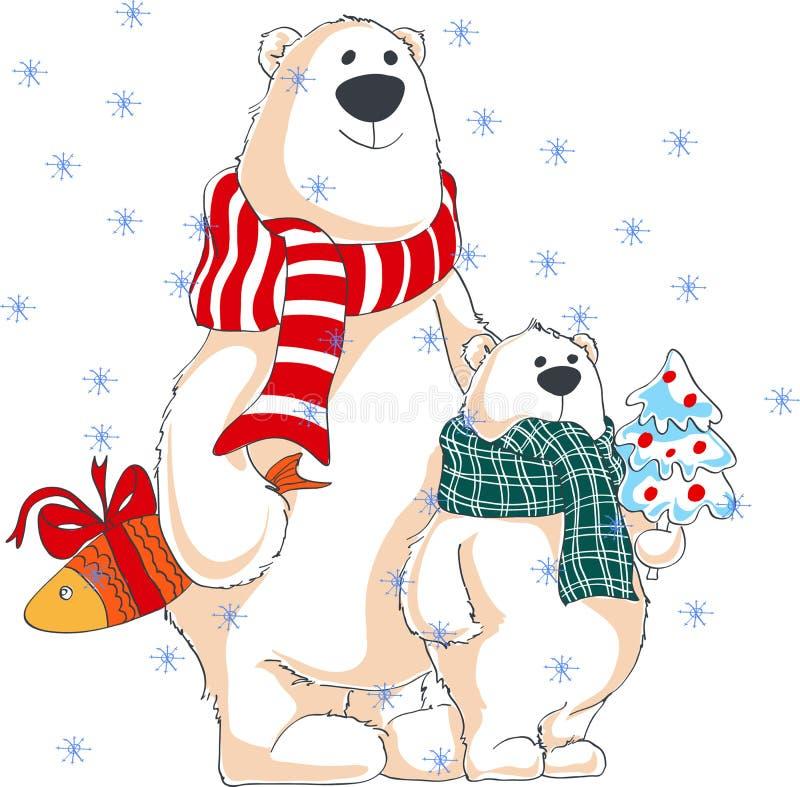 zamykający wszystkie boże narodzenia redagują eps8 ilustraci część możliwość Dwa niedźwiedzia polarnego z prezentami zdjęcie stock