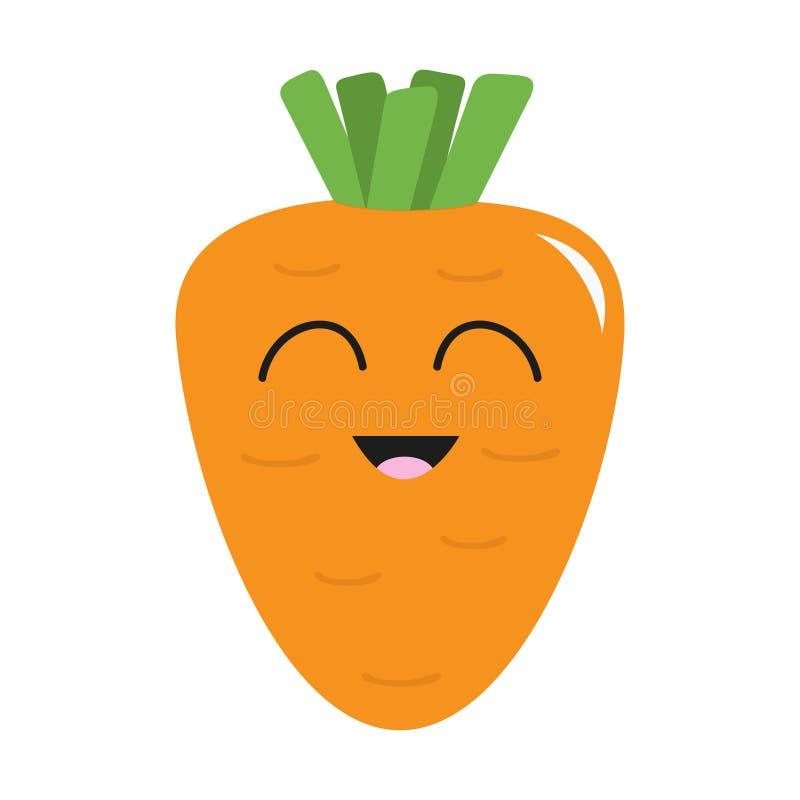 Zanahoria con el icono de las hojas Color anaranjado Colección vegetal Comida sana de la granja fresca Cara sonriente Personaje d ilustración del vector