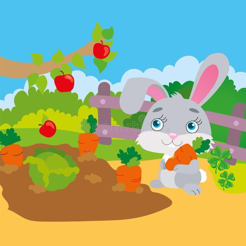 Zanahoria de roedura del conejo en jardín stock de ilustración