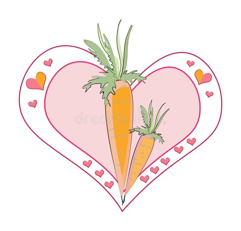Zanahoria del amor stock de ilustración