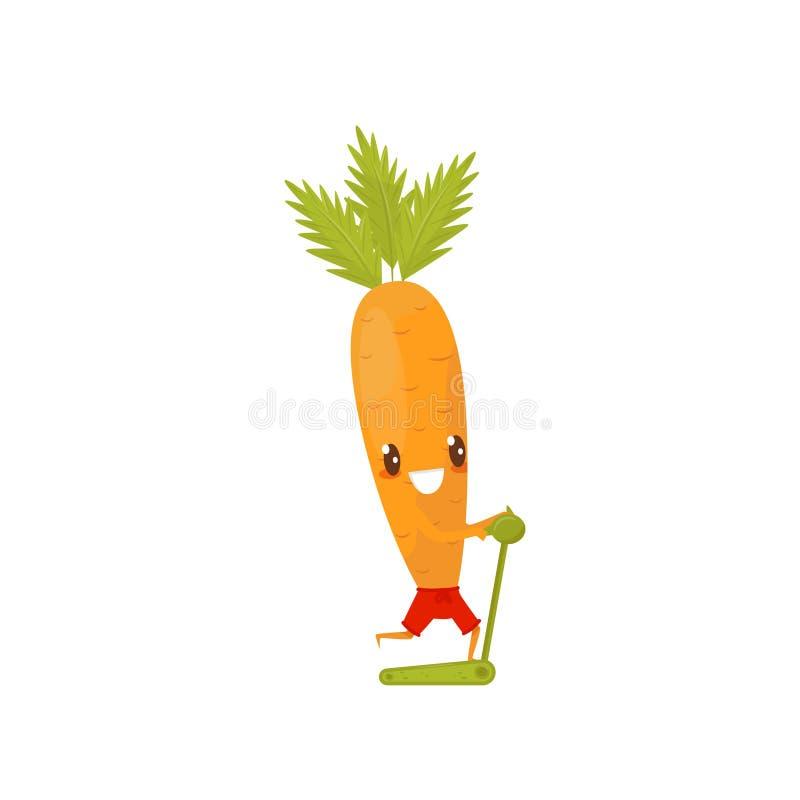 Zanahoria divertida que corre en una rueda de ardilla, personaje de dibujos animados vegetal juguetón que hace el ejemplo del vec libre illustration