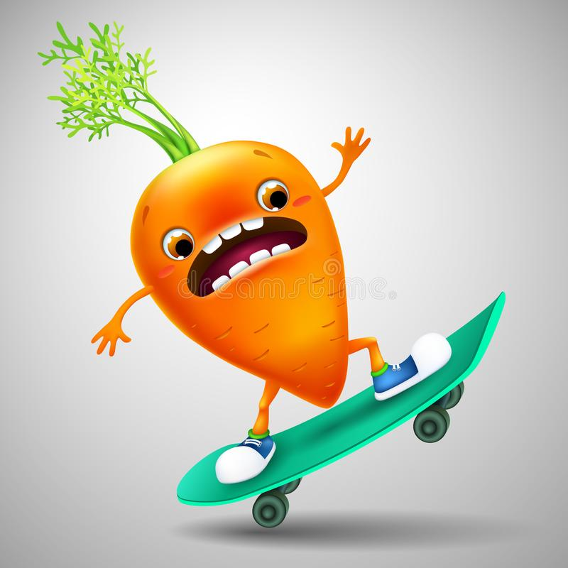 Zanahoria emocional divertida de la historieta en el monopatín Alimento sano imagenes de archivo