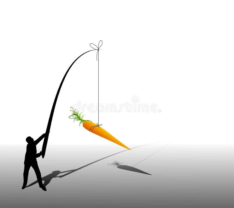 Zanahoria que cuelga del hombre de negocios ilustración del vector