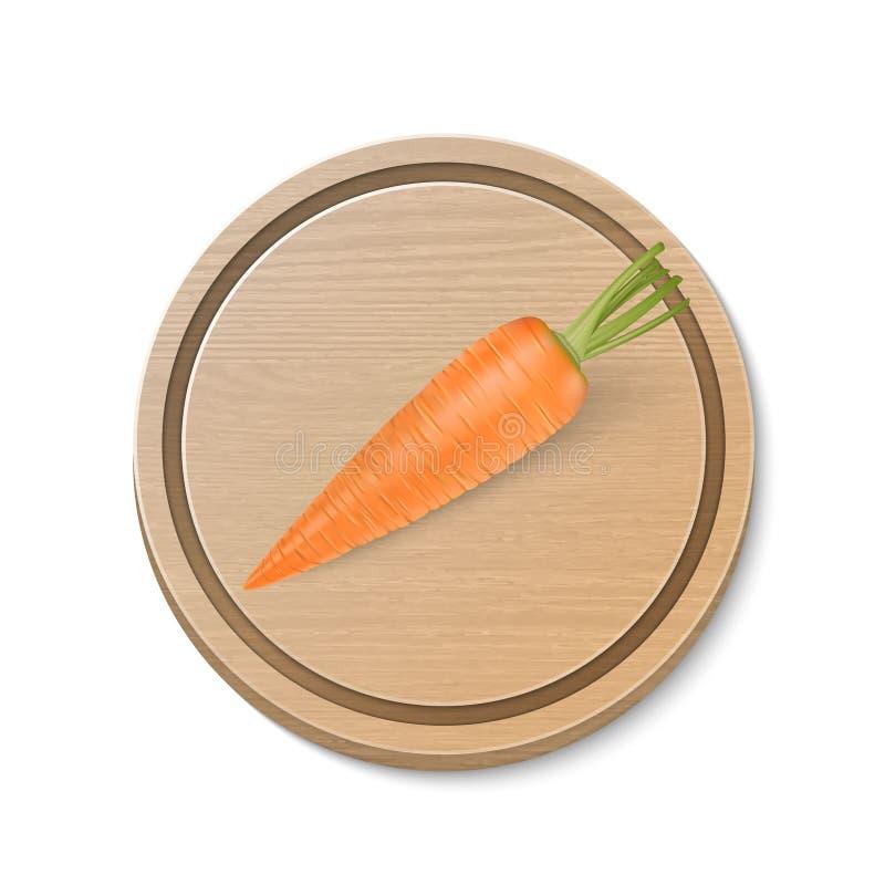 Zanahoria realista del vector en tabla de cortar marrón de madera en el fondo blanco Modelo del diseño stock de ilustración